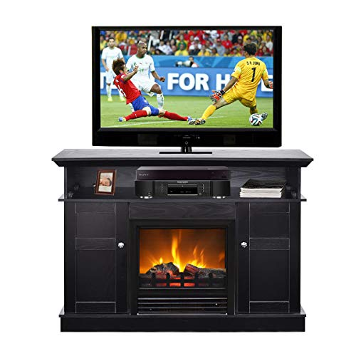 Tangkula Living Room Wooden Media TV Stand Fireplace