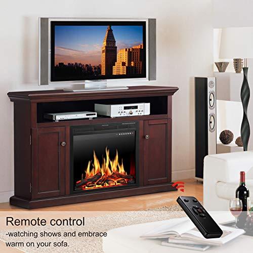 JAMFLY Electric Fireplace TV Stand Wood Mantel