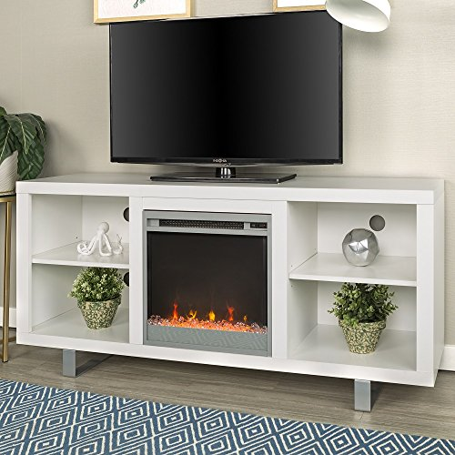 Wide Simple Modern Electric Fireplace Television Stand