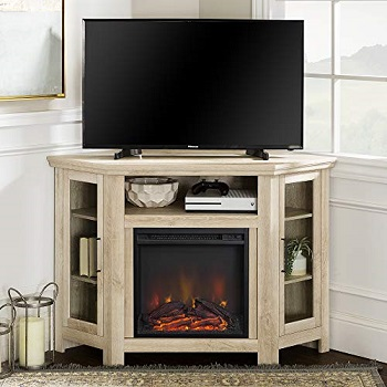 Walker Edison Tall Wood Corner Electric Fireplace TV Stand