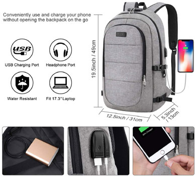 AMBOR Anti Theft Business Backpack With USB Charging Port and Headphone Interface