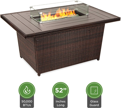 Best Choice Products Outdoor Wicker Propane Fire Pit Table