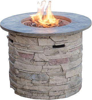 Christopher Knight Home 296659 Rogers Round Stone Fire Pit Table
