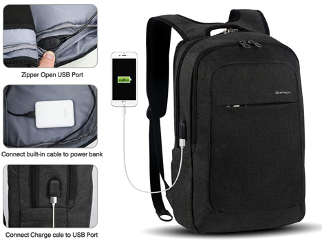 Kopack Slim Business Computer Backpack With Anti-Theft, Water Resistant, Lightweight And USB Port