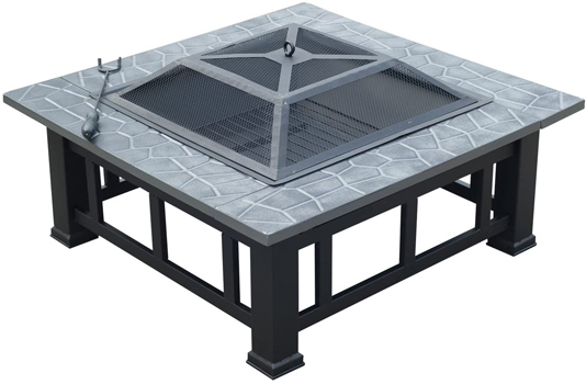 Outsunny Square 32-Inch Outdoor Backyard Patio Metal Fire Pit
