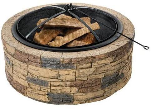 Sun Joe SJFP35-STN Wood Burning Fire Pit