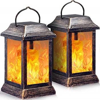 TomCare Garden Solar Lights Metal Flickering Flame